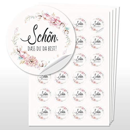 WEDDNG 96 Sticker Hochzeit Boho, Aufkleber Rund 4cm Durchmesser, Hochzeit Gastgeschenk Give Aways (Blumen4/Schön, DASS Du da bist)