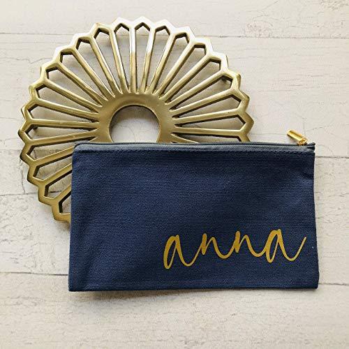Kosmetiktasche klein ideal für die Handtasche personalisiert mit Namen blau gold in 2 Größen