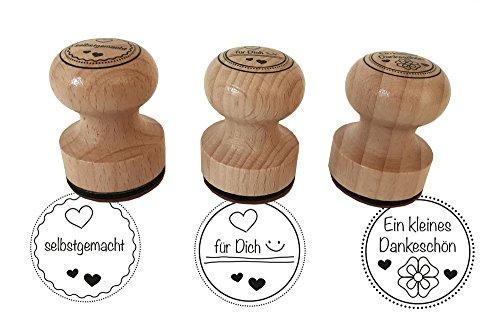 Stempel 3er Set 'Ein kleines Dankeschön, selbstgemacht, ...für Dich, 3 cm Durchmesser, Holzstempel