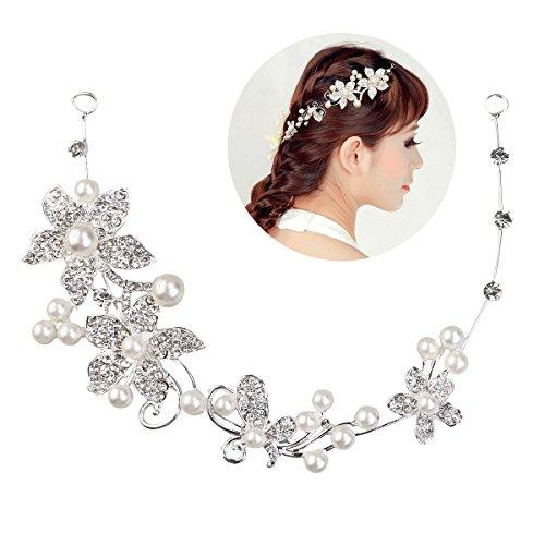 Tinksky Hochzeit Diadem Braut Tiara Stirnband Brautjungfern Crystal Perlen Dekor Strass Kronen Haarspange pin