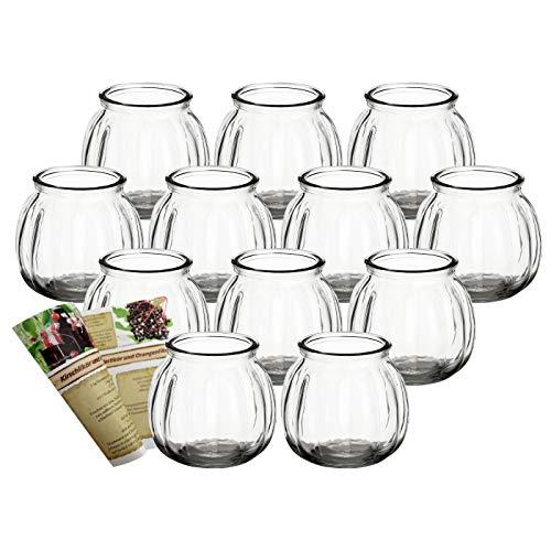gouveo 12er Set Teelichtgläser Vintage und 28-seitige Rezeptbroschüre Windlichter, Windlichthalter, Vase