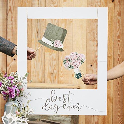 Ginger Ray Polaroid-Fotorahmen, für Hochzeit, mit Aufschrift 'Best Day Ever', rustikal, Grau