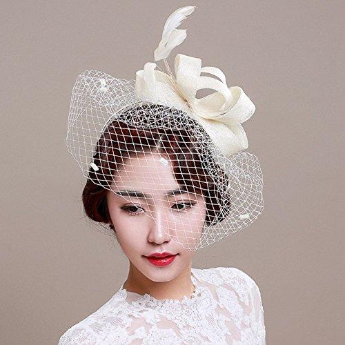 Veewon Damen Elegante Feder Fascinator Haarklammer Hüte Hochzeit Cocktail Netzschleier Stirnband (Weiß)