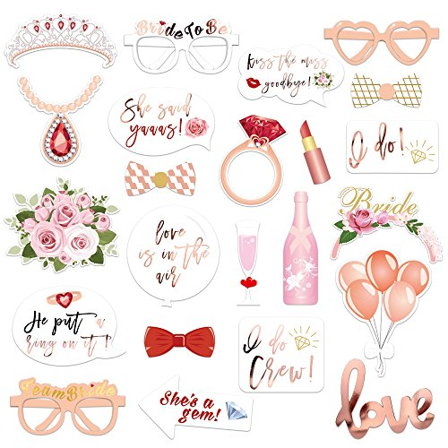 Konsait Hochzeit Hen Party Rose Gold Team Braut Photo Booth Props Fotorequisiten Fotoaccessoires, Witziges Spiel für den Junggesellinnenabschied JGA-Party, Hochzeit (23 Stücke)