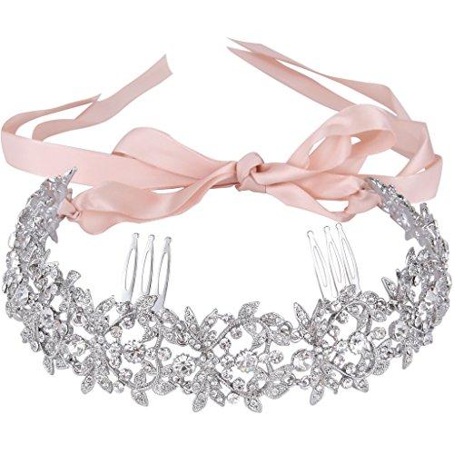 EVER FAITH® österreichischen Kristall Liebe Herz Blume Hobo Braut Hair Haarband Silber-Ton klar N05937-1