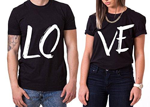 Love King Queen Partner Look Pärchen Valentinstag T-Shirt Set, Größe:M;Partner Shirts:Herren T-Shirt Schwarz
