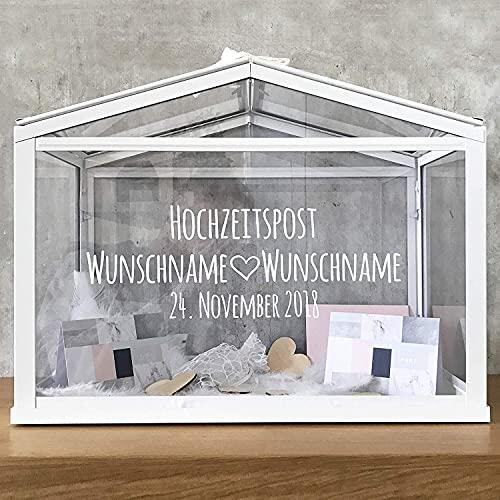 Madyes Kartenbox Hochzeit Haus personalisiert Namen Datum Hochzeitspost Hochzeitskartenbox Geschenkkarten Glückwunschkarten Geldgeschenke Hochzeit