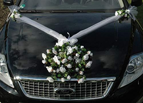 Spitze STRAUß Auto Schmuck Braut Paar Rose Deko Dekoration Hochzeit Car Auto Wedding Deko PKW (Reinweiss 3)