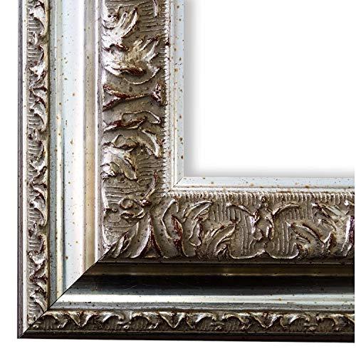 Bilderrahmen Rom Silber 6,5 - LR - 60 x 90 cm - 500 Varianten - alle Größen - handgefertigt - Galerie-Qualität - Antik, Barock, Modern, Shabby, Landhaus - Fotorahmen Urkundenrahmen Posterrahmen