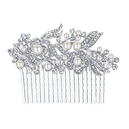 EVER FAITH® österreichischen Kristall Künstliche Perle blume Braut Haarkamm Haarschmuck