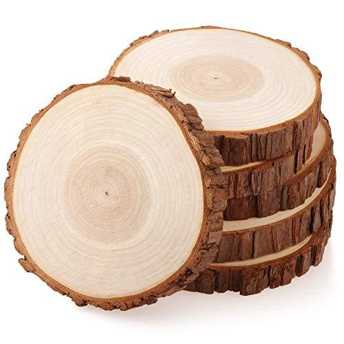 Fuyit Holzscheiben 6 Stücke Holz Log Scheiben 15-16 cm Unvollendete Holzkreise Ungebohrte Holzkreise ohne Loch für DIY Handwerk Holz-Scheiben Hochzeit Mittelstücke Weihnachten Dekoration Baumscheibe