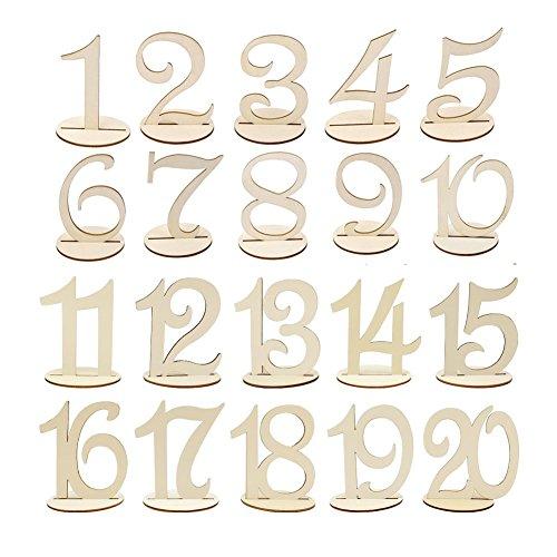 Wskderliner Tischnummern Hochzeit Holz Nummern Holzzahl Ringkissen Holz Vintage Hölzern Zahlen Deko Party Hotel Tabelle Dekoration 1 to 20