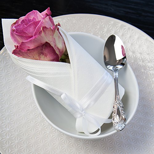 Servietten Ornament Premium Airlaid STOFFÄHNLICH | 40 x 40cm | Hochzeitsserviette | hochwertige edle Serviette für Hochzeit, Geburtstag, Party, Taufe, Kommunion | made in Germany (50 Stück, Loop Weiß)