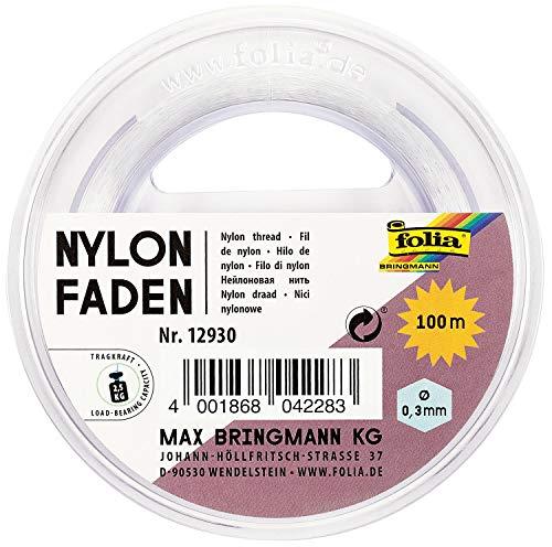 folia 12930 - Nylonfaden auf Spule, transparent, ca. 0,3 mm x 100 m, Tragkraft 2,5 kg, kaum sichtbarer Faden ideal für Mobiles, Schmuck, zur Dekoration usw.