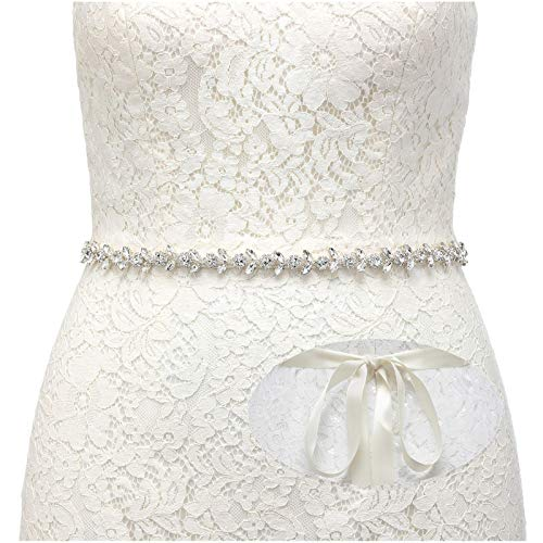 SWEETV Strass Hochzeit gürtel Kristall Braut gürtel Schärpe für Brautjungfernkleider Ballkleid Abendkleider, Silber