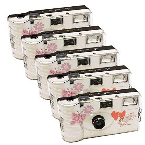 5x PHOTO PORST Hochzeitskamera mit Schmetterling / Einwegkamera / Partykamera (je 27 Fotos, mit Blitz, 5-er Pack)