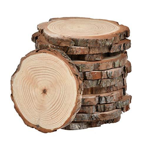 WOWOSS 12 Stück Runde Holz Scheiben Verzierung Holz Deko Baumscheiben für DIY Handwerk Hochzeit Mittelstücke(10-12cm)