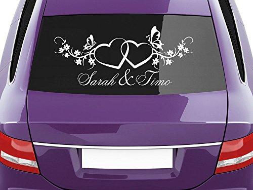 GRAZDesign Autoaufkleber Hochzeit personalisiert mit Namen 70x30cm Farbe weiß