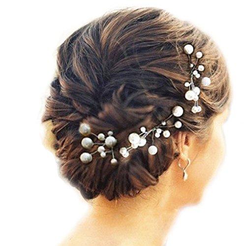 Musuntas, 6 Stück, Hochzeits- und Brautschmuck mit Strassperlen, Braut-Haarschmuck, Strass-Haarclip