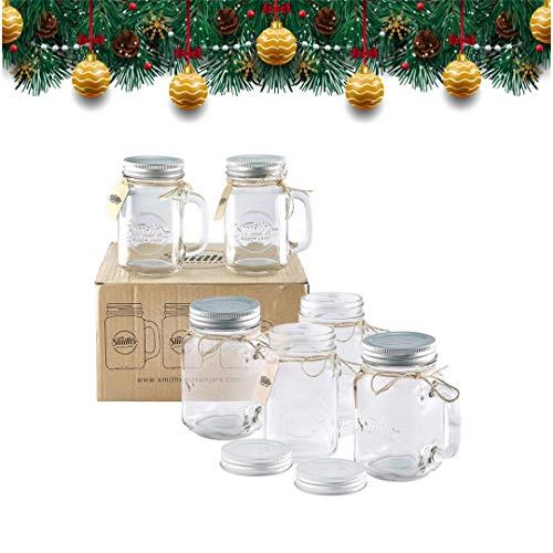 Smith Mason Jars 6 x 16oz Einmachglas Becher mit Schraubdeckel Deckel mit Gummidichtung, macht luftdicht und wasserdicht, auch ideal für die Herstellung von Overnight Hafer große Bierkrüge