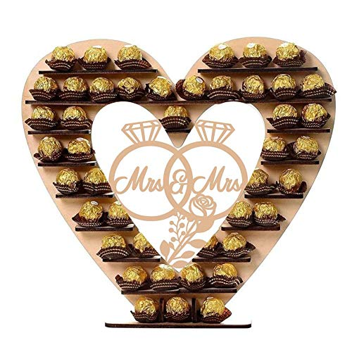 gshhd0 Holz Mr & Mrs Herz Schokolade Display Baum Ständer, DIY Schokolade Halter Candy Snacks Wüste Ständer Regal für Braut Party Jubiläum Hochzeit Mittelstück Dekoration - Braun, Free Size