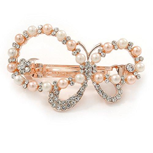 Haarspange 'Asymmetrischer Schmetterling' für Bräute/ Hochzeiten/ Bälle in Roségold mit Perlenimitat und Strass
