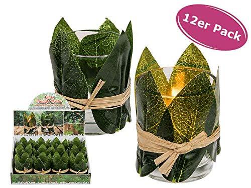 itsisa Teelichtglas Urban Jungle 12er Set Teelichthalter - Windlicht, Tischdeko Gartenfest