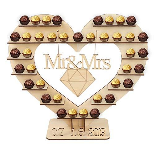 Aparty4u Mr & Mrs Ferrero Rocher Ständer Mittelstück mit 25 abnehmbaren Holznummern, herzförmiger Schokoladenständer Mittelstück Paar Ringe für Hochzeiten Tischdekorationen