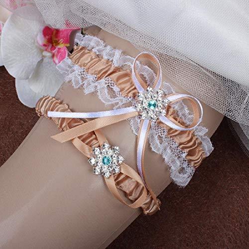 Charm4you Hochzeit Strumpfband für Braut Kristall,Braut Hochzeit Accessoires Stretch Spitze Strumpfband Gürtel-Khaki 5pcs,Hochzeit Braut Lace Strumpfband