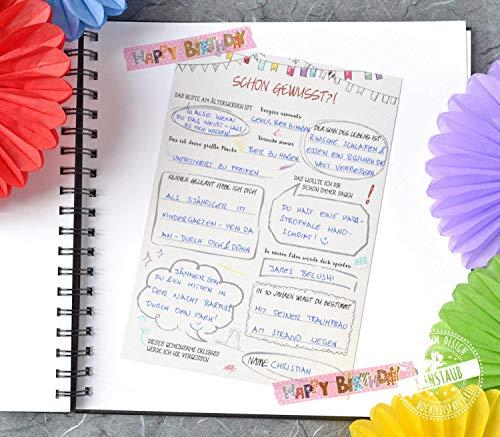 Geburtstag Geschenk-idee für Frauen und Männer, 30 Gästebuch-Karten mit witzige Fragen an Gäste