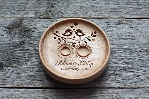 Ringkissen Hochzeit Holz mit gravierten Namen und Datum, Ringschale für die Hochzeit, Ringträger für die Hochzeit, Hochzeitsgeschenk, Liebesvögel, Love Birds.