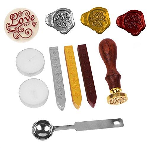 Dichtung Wachs, Antik Wachs-Siegel-Stempel-Set, Jahrgang Klassische Stempel Seal Wachsversiegelung Set mit Gold-Rot-Silber-Sticks (Liebe)