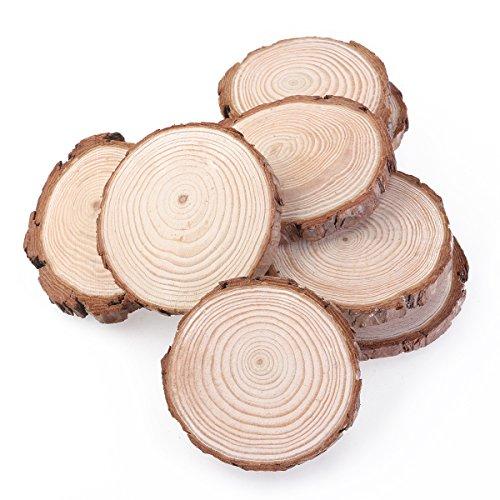 ROSENICE 10 Stücke Holzscheiben Rund 7-9 CM Holz Log Scheiben für DIY Handwerk Hochzeit Mittelstücke