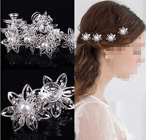 Musuntas 6er Set wunderschöne Sterne Blumen Haarspiralen Haarnadeln aus , Perle, Strass, Braut Hochzeit Perle Strass Haarschmuck Haarspiralen …