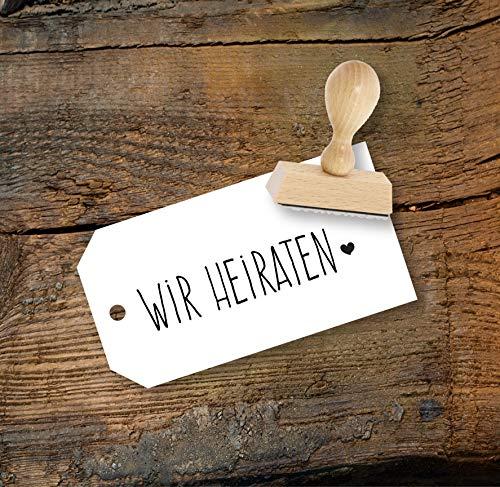 Wir heiraten Stempel aus Buchenholz für Hochzeit, Qualitätsprodukt aus Österreich, perfekt für DIY Wedding
