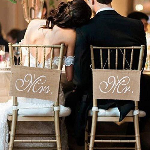 LinTimes Stuhl Banner Set Hochzeit Dekoration 1 Set von 2 Jute Bögen Mr. & Mrs Jute Stuhl Schild Girlande Rustikal Party Dekoration
