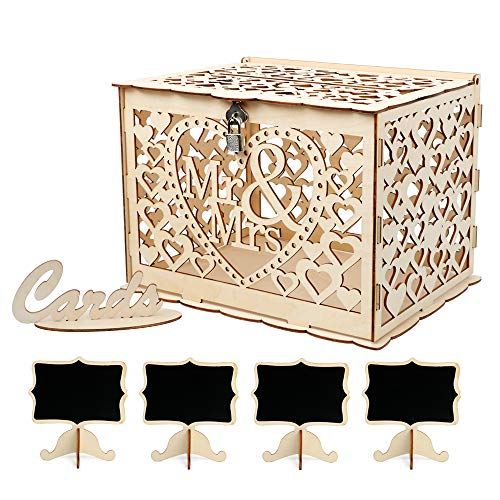 VINFUTUR Hochzeit Geschenkkarten Box Vintage Holz Kartenbox mit Schloss Briefkasten Mr & Mrs Kartenkiste + 4 STK Dekorative Klein Tafel für Hochzeit Geburtstag Dank Party