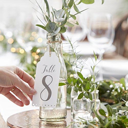 Ginger Ray White Wine Bottle or Centrepiece Wedding Schöne Botanik, weiß