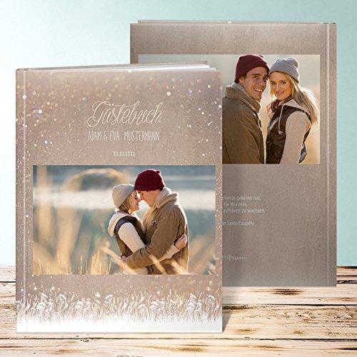 Gästebuch Hochzeit Individuell, Zauberlicht 32 Seiten, 16 Blatt, Hardcover 234x296 mm personalisierbar, Braun