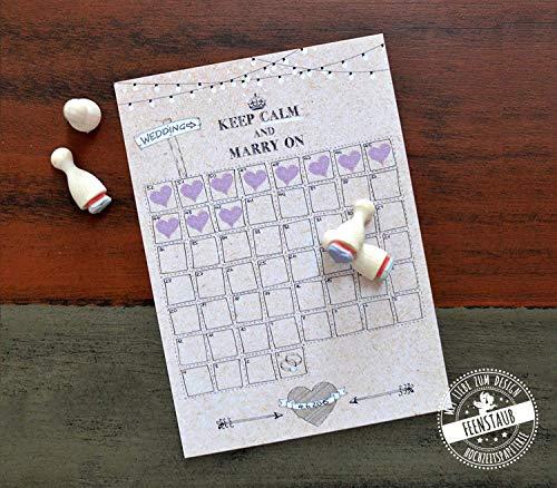 Hochzeitscountdown noch 52 Tage/Wochen bis zur Hochzeit Verlobungsgeschenk Kalender zum Abstempeln