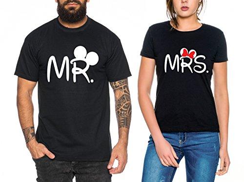Mr Mrs Partner Look Pärchen T-Shirt Set für Pärchen als Geschenk, Farbe:Schwarz;Größe:Damen Gr. XXL + Herren Gr. M