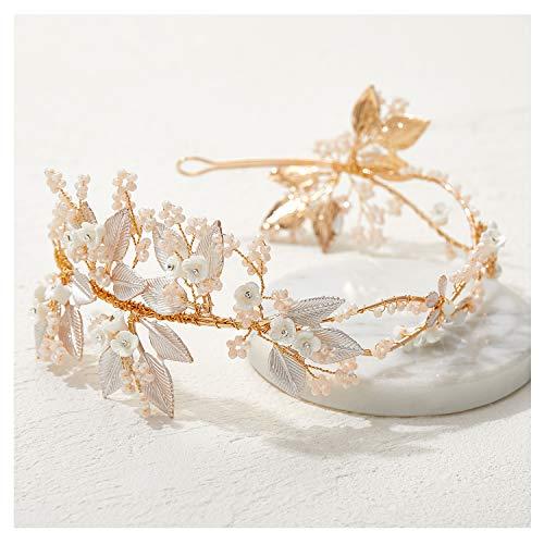 SWEETV Roségold Braut Stirnband, Blume Hochzeit Kopfschmuck, Perlen Haarschmuck für Bräute, Brautjungfer, Rosegold, onesize