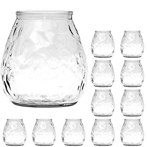 Ami Europe 12 Stück Windlichter aus Glas 10cm Windlicht für Teelichter Teelichtglas Vase Väschen