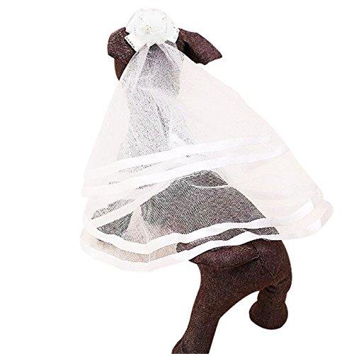 F-eshion Hund Haustier Katze Brautkleid Braut Tüll Schleier Hochzeit Haar Zubehör