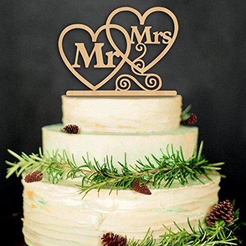ZesNice Cake Topper Hochzeit, Mr Mrs Kuchendeckel Hochzeit Kuchen Topper Kuchendekoration (Holz Farbe)