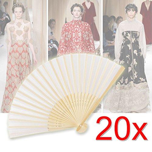 EMOTREE 20x Handfächer Stoff Taschenfächer mit Organzabeutel Stofffächer Hochzeit Deko