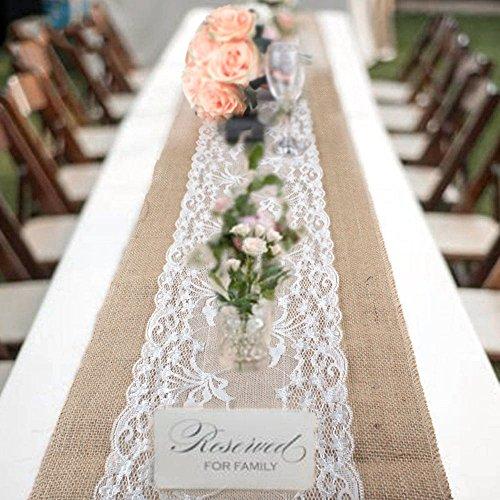 ODOMY Jute Tischläufer mit Spitze Tischband Natur aus Sackleinen mit Lesbie, für Hochzeit Festival Tischdekoration, 30 * 275cm