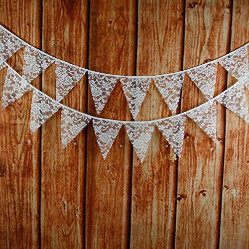 G2PLUS 3.3M Schöne Spitze Lace Wimpel Girlande mit 12 STK Süße Bunting Wimpelkette Farbenfroh Wimpeln für Draußen Hochzeit