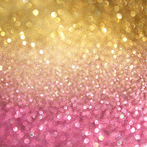 5x 2,1Gold und Pink Bokeh Hintergrund Fotografie Tapete Polka Dots Kinder Neugeborene Baby Studio Hintergründe Photo Booth Requisiten