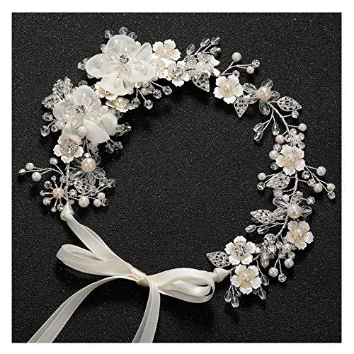 SWEETV Blume Haarschmuck Hochzeit Silber Haar Schmuck Braut Stirnbänder Kristall Diadem